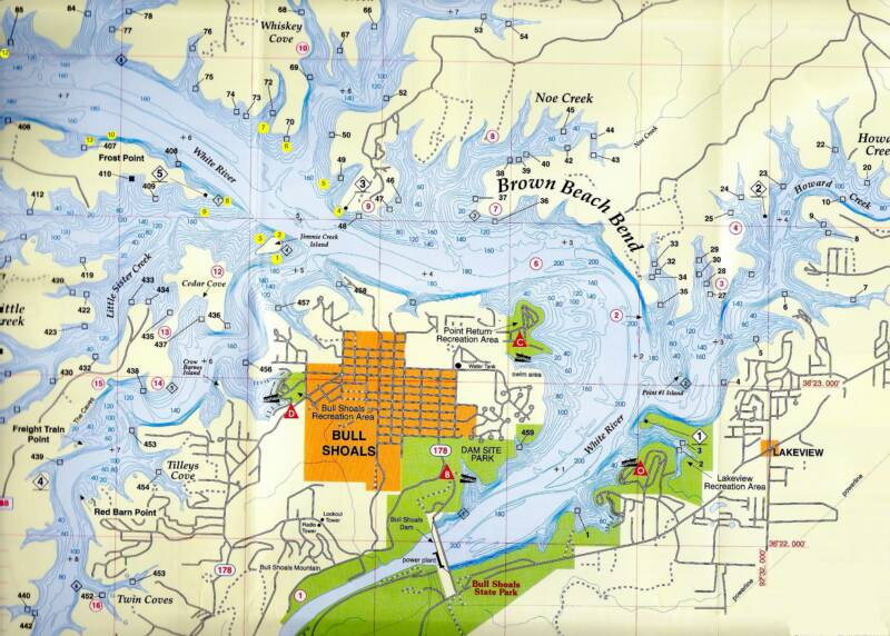 Bull Shoals Map on white river map, briery creek lake map, lake norman boating map, smith mountain lake map, west point lake map, arkansas map, norfork lake map, pontiac lake state park map, dierks lake map, cedar creek lake map, wrights lake map, cove lake map, lake degray lake map, lake taneycomo map, table rock lake map, stockton lake mo map, pontiac lake depth map, deer creek lake map, lake anna state park map, lake ouachita map,